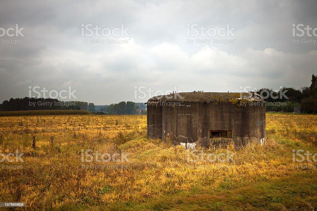 Old German bunker in a Belgian field stock photo