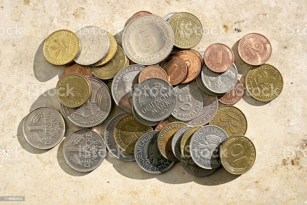 Old german Mark Coins royalty-free stock photo