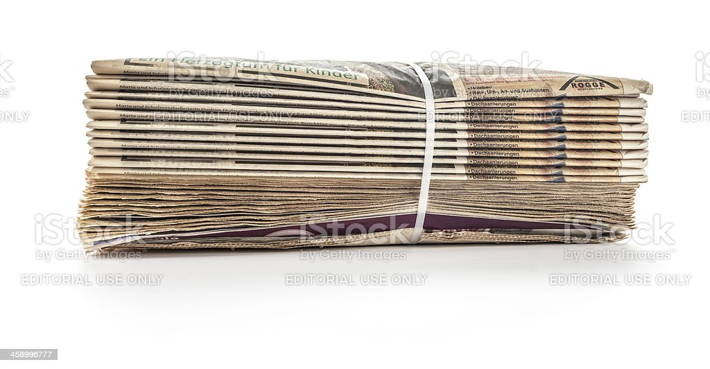 Old German newspapers on white royalty-free stock photo