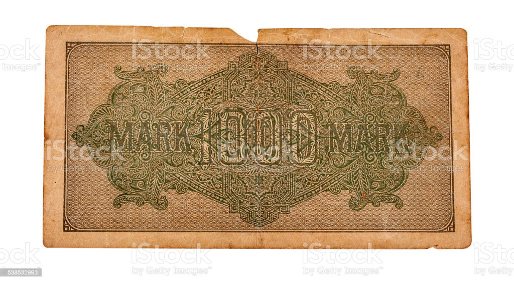 Old German Reichsmarks from 1923 stock photo
