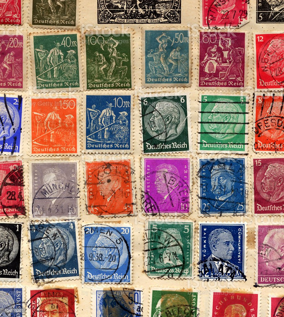 Old German Stamps stock photo