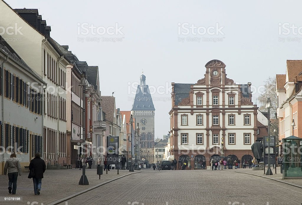 Old German town in milky morning light royalty-free stock photo