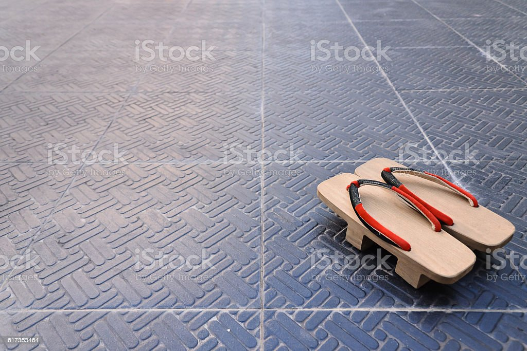 old 'Geta'Traditional Japanese 'Geta' slippers. stock photo