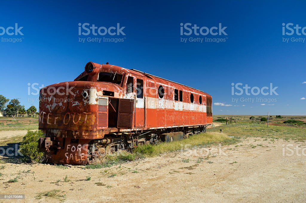 Old Ghan locomotive in the Australian Outback, Marree stock photo