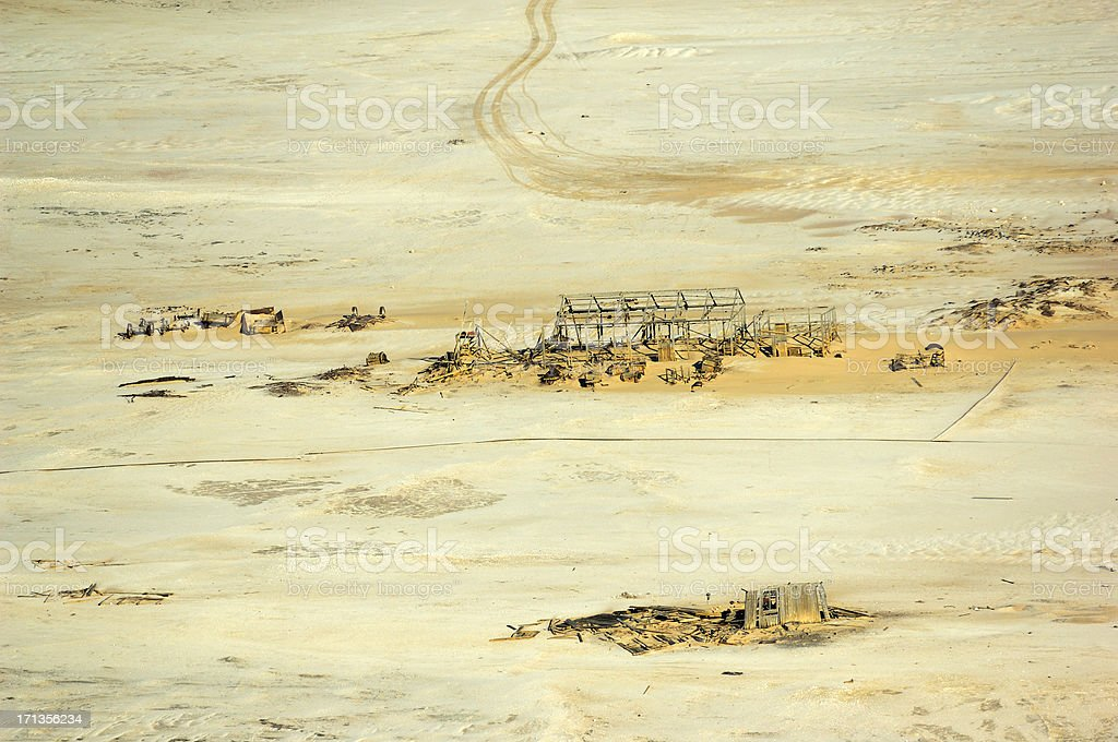 Old ghost town at the Skeleton coast stock photo