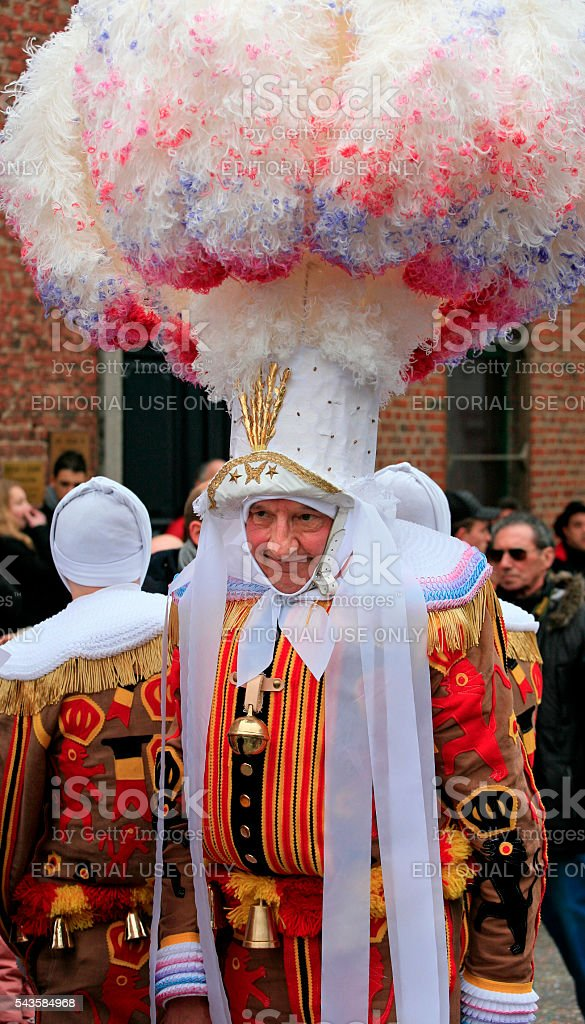 Old Gille with ostrich feathers hat, Binche Carnaval, Belgium stock photo