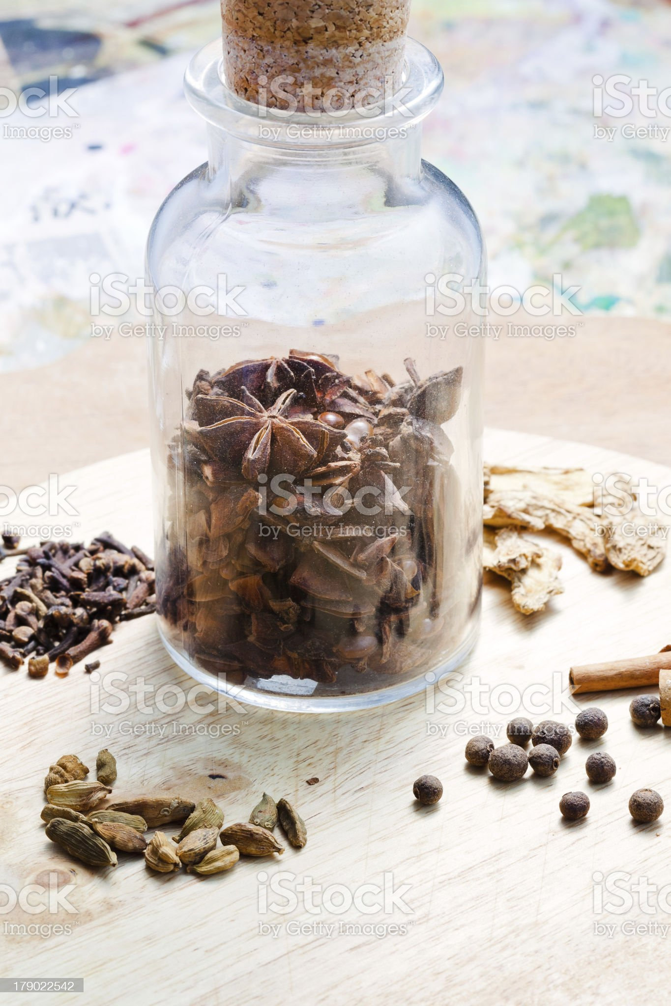 old glass bottle with spices royalty-free stock photo