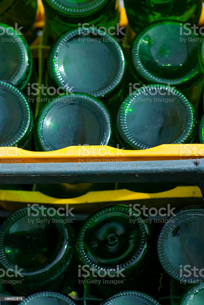 Old glass bottles, pollution stock photo
