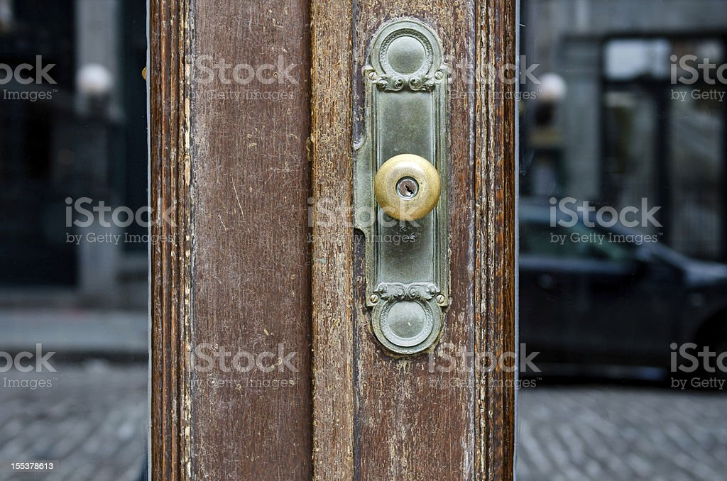 Old Glass Door With Handle royalty-free stock photo