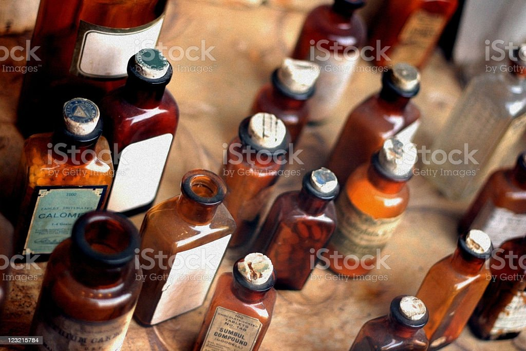 Old Glass Medicine Bottles stock photo
