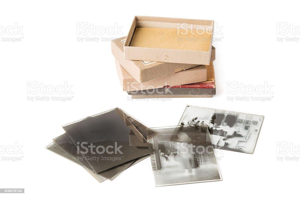 Old glass plate negative stock photo