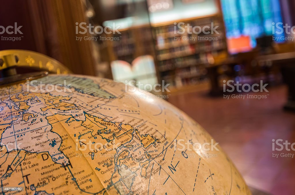 Old globe at the New York Public Library stock photo