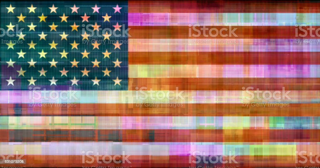 UNITED STATES OF GLITCH Old Glory flag remixed stock photo