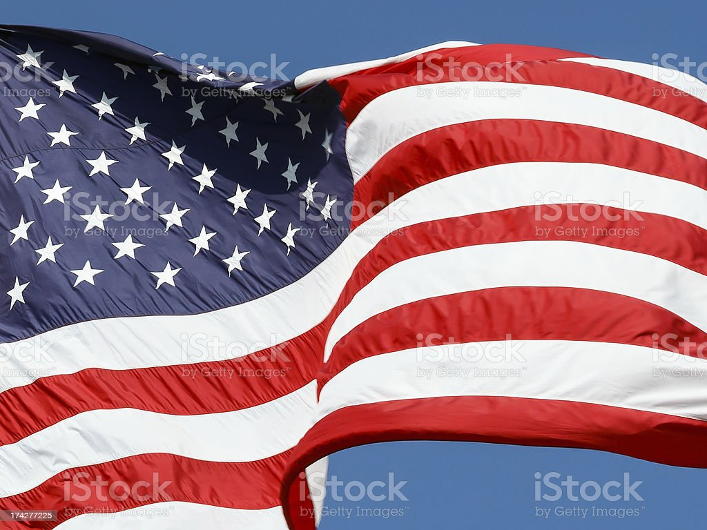 Old Glory onde nel vento foto stock royalty-free