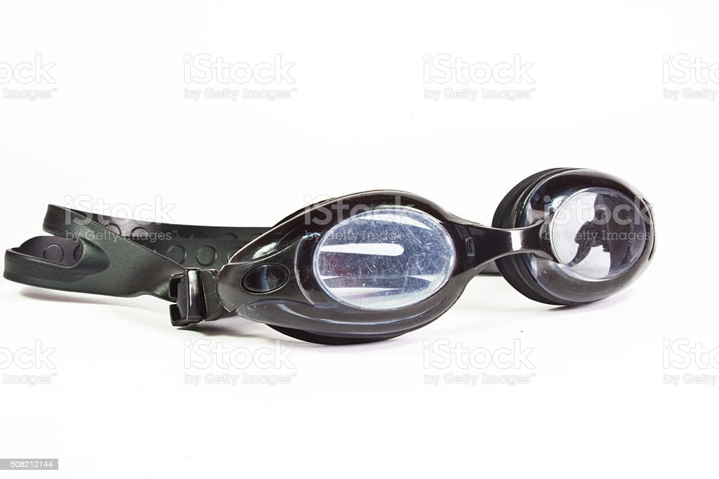 Old goggles for swimming stock photo