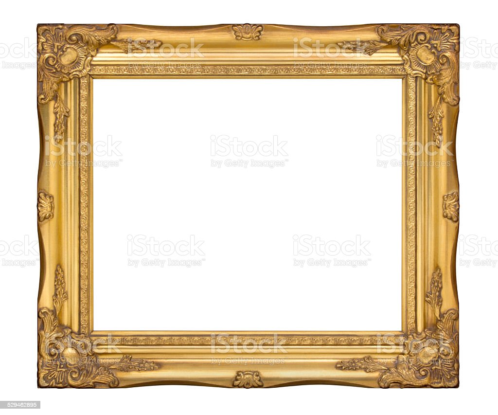 Old gold classic frame. The antique, vintage picture frame stock photo