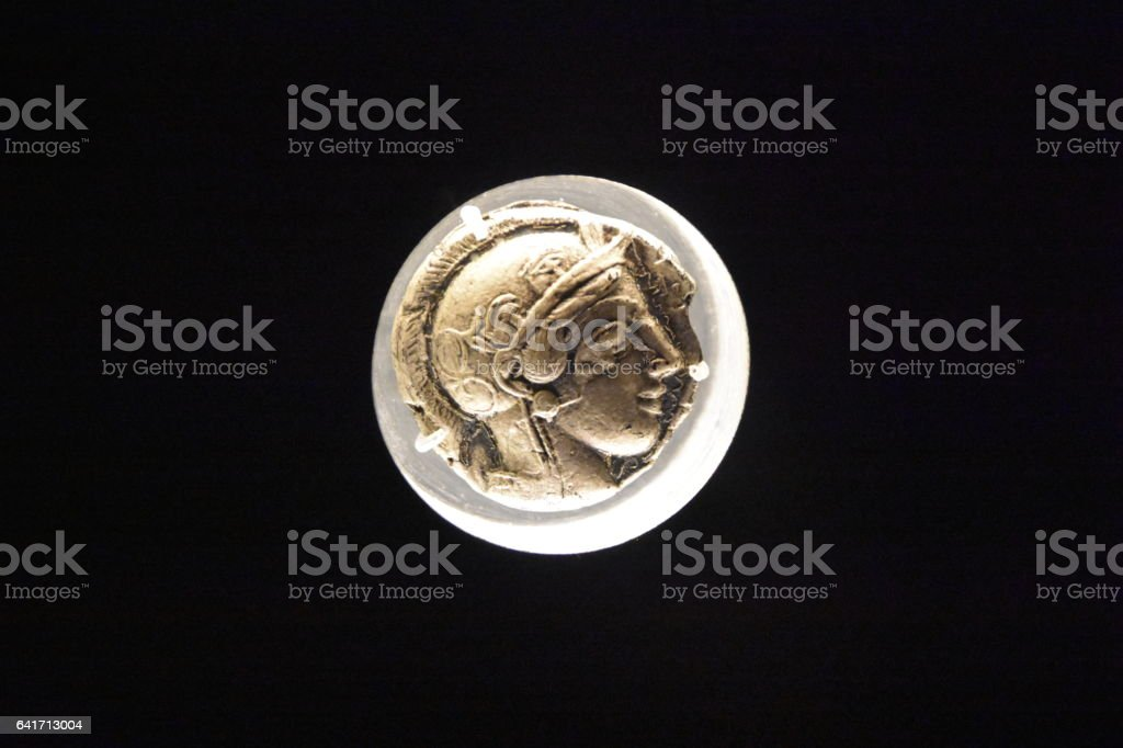 Old gold coins stock photo