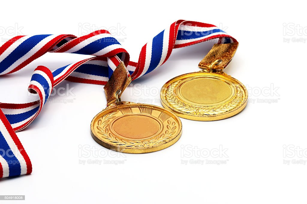 Old Gold medal on white with blank face for text, stock photo