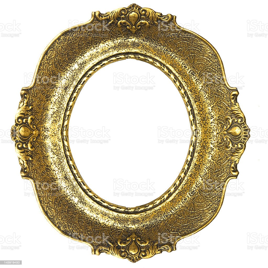 Old Gold Picture Frame - Oval stock photo