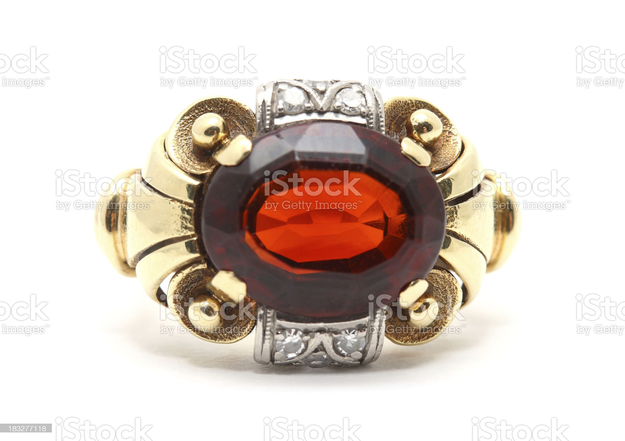 Old Gold Ring with Madeira topaz stone on White Background royalty-free stock photo
