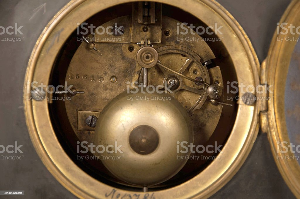 old golden clock machinery stock photo