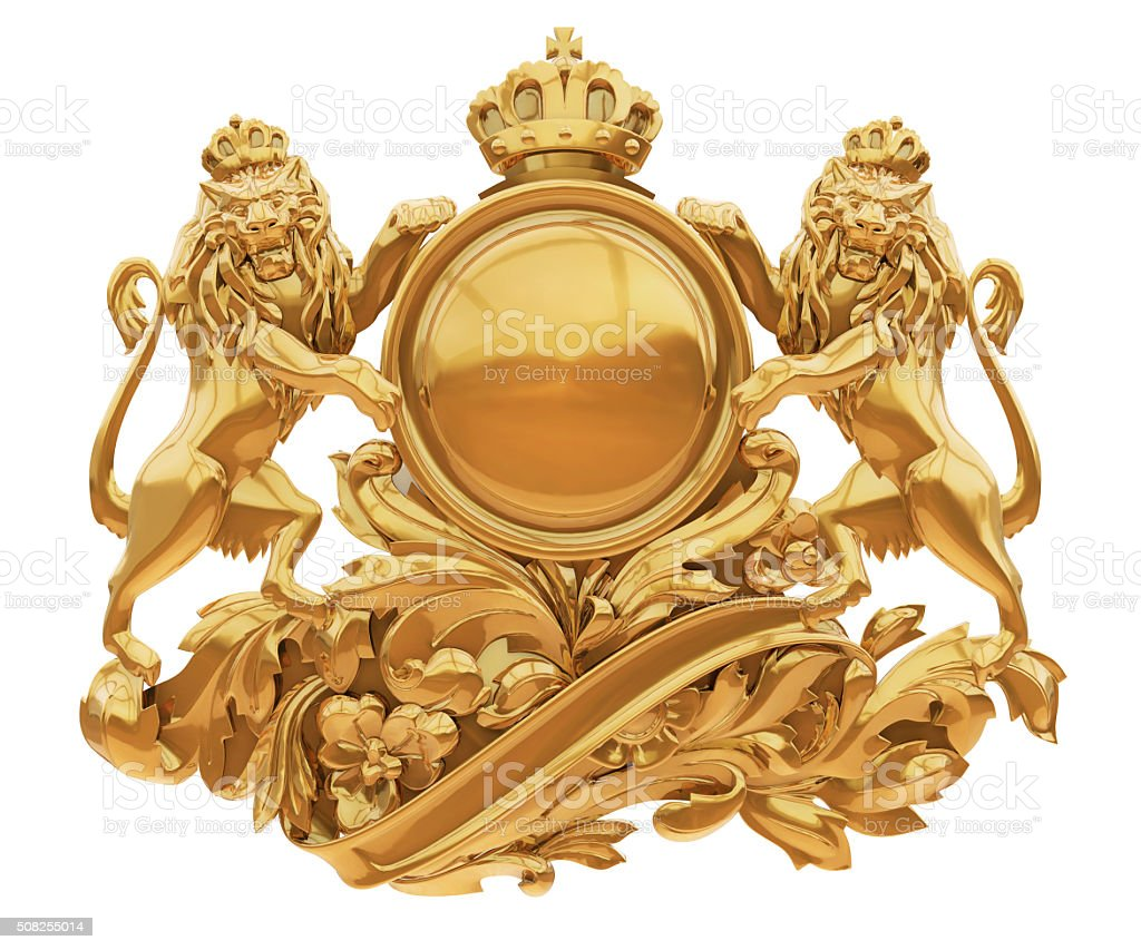 Old golden coat of arms with lions isolate stock photo