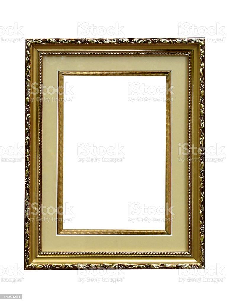 Antiga Moldura de foto de vazio dourada isolada sobre fundo branco foto de stock royalty-free