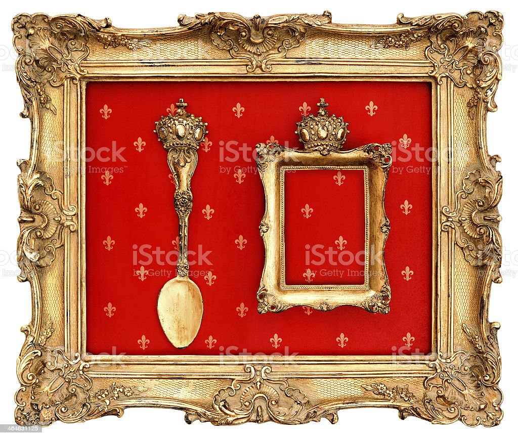 old golden frame with red background stock photo