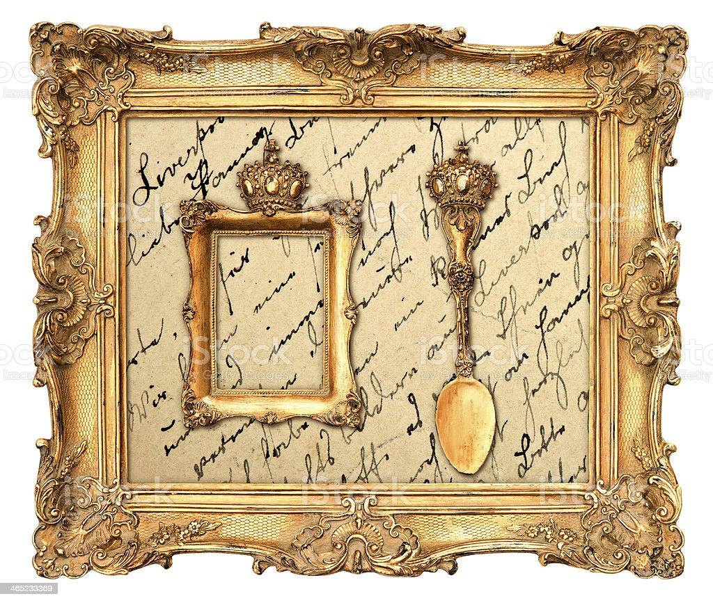 old golden frame with  vintage background stock photo