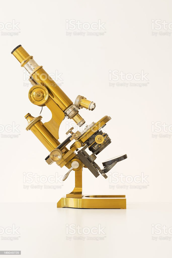 Old Golden Microscope stock photo