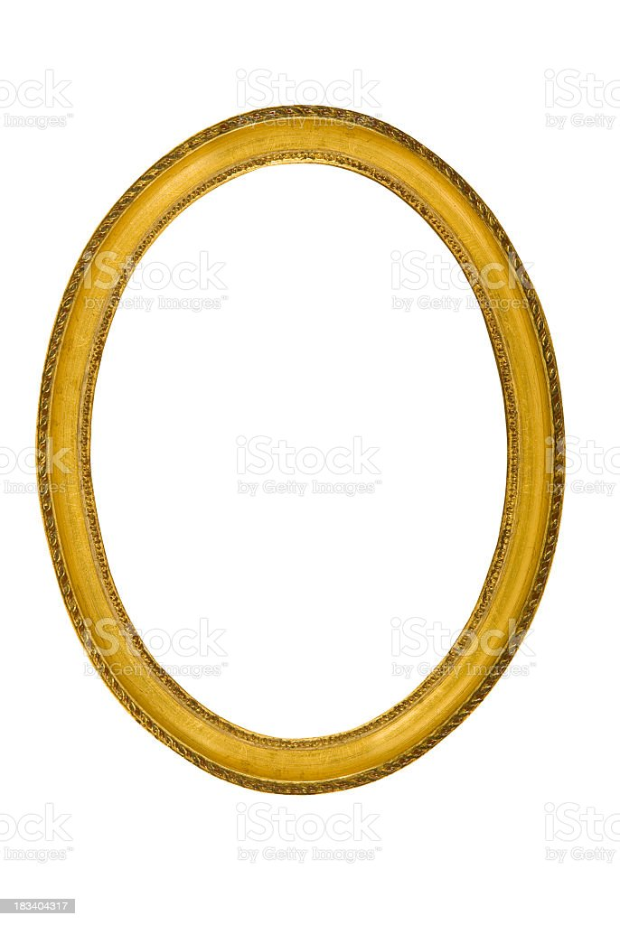 Old golden oval frame on a white background stock photo