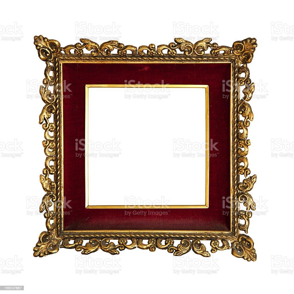 Old  golden retro frame, isolated on white (No#4) royalty-free stock photo