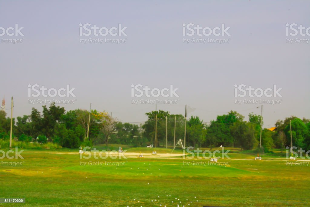 Old golf course driving range stock photo