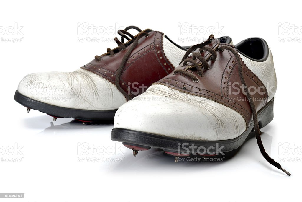 old golf shoes stock photo
