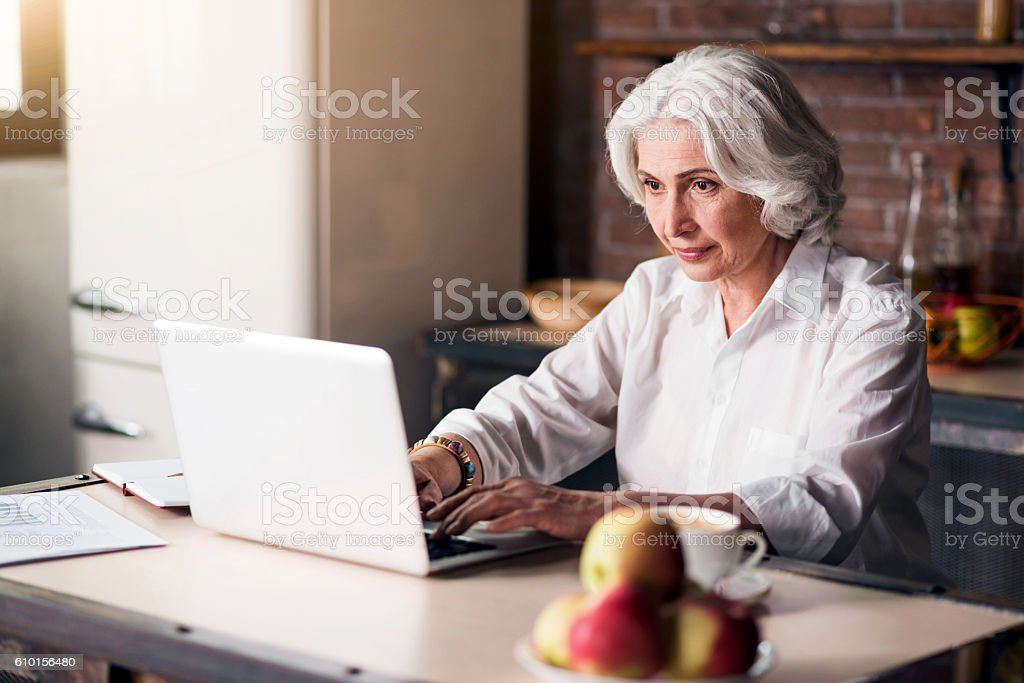Old good-looking lady using her laptop stock photo