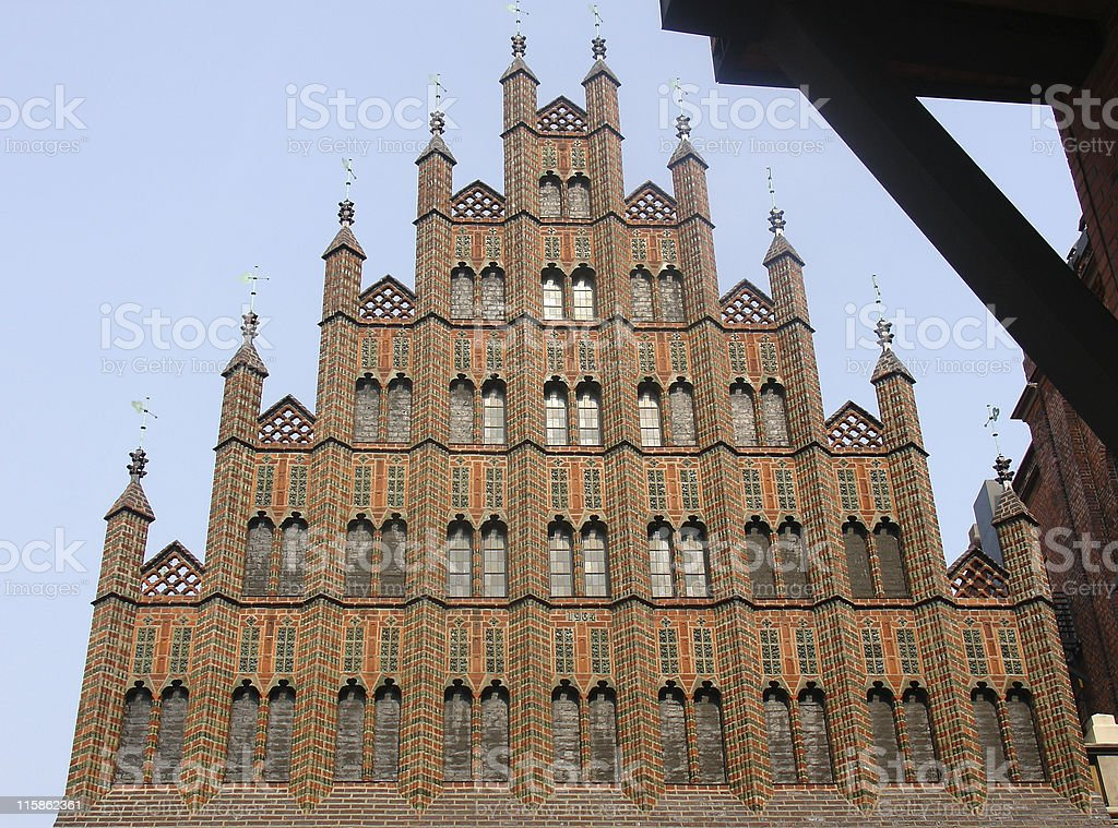 Old Gothic City Hall royalty-free stock photo