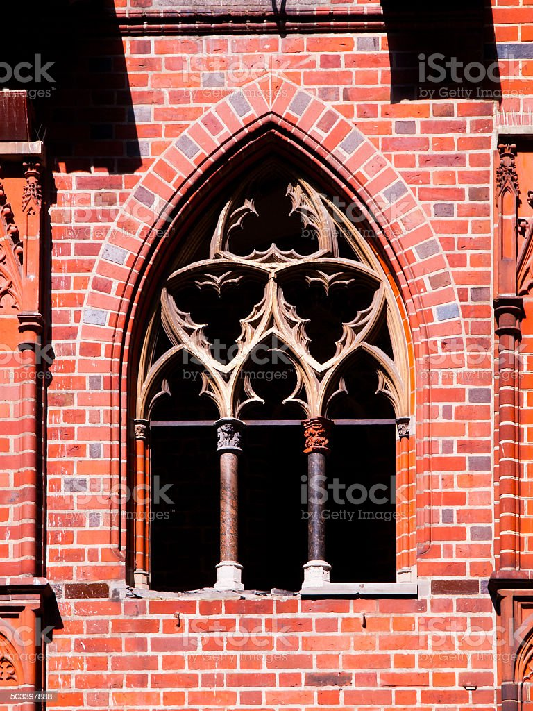 Old gothic style window stock photo