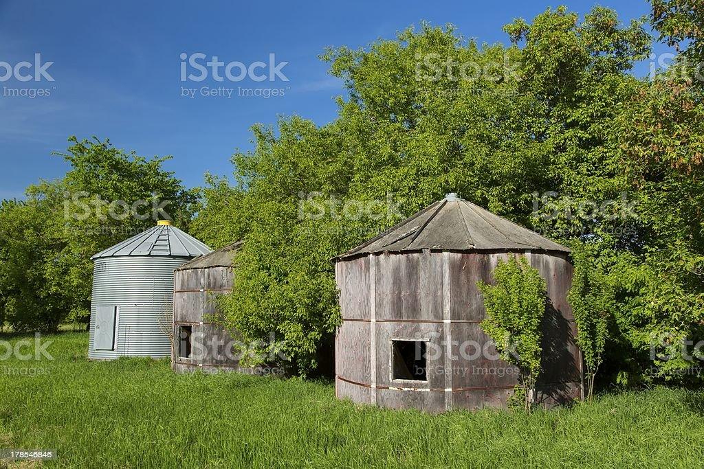 Old Grain Bins royalty-free stock photo