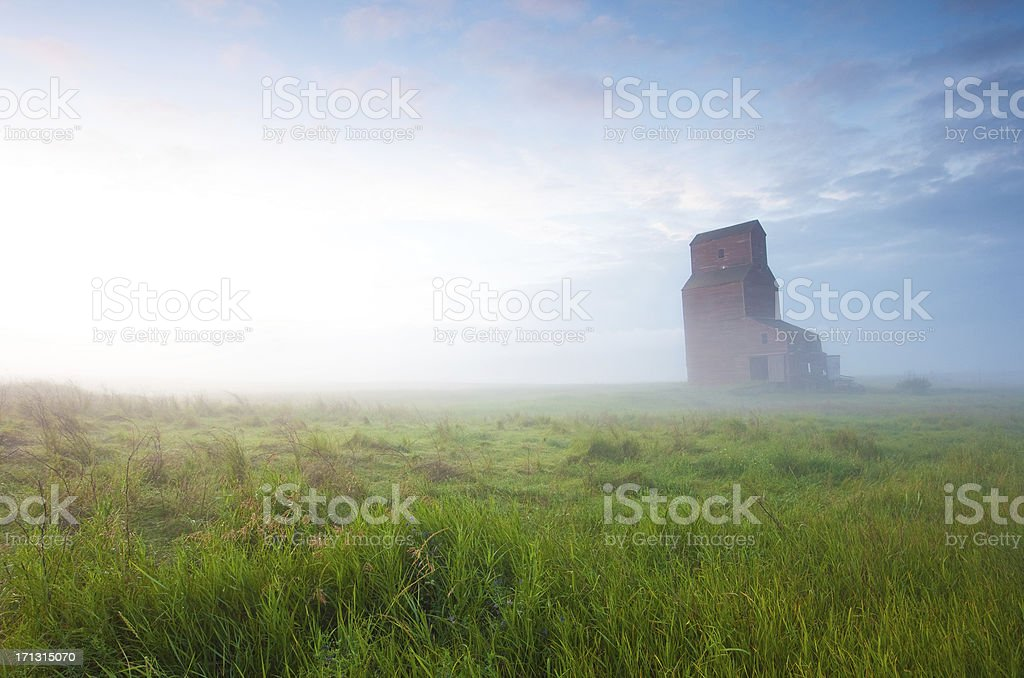 Old Grain Elevator in Fog royalty-free stock photo