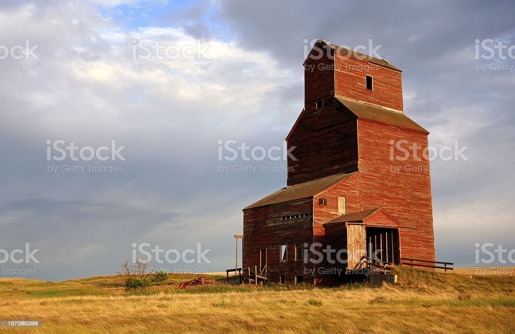 Old Grain Elevator on the Great Plains in Saskatchewan stock photo