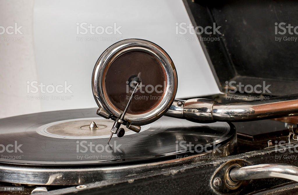 Old gramophone closeup - various constructive details stock photo