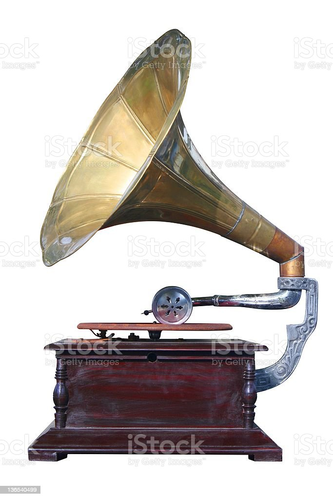 Old gramophone from an isolate white background stock photo