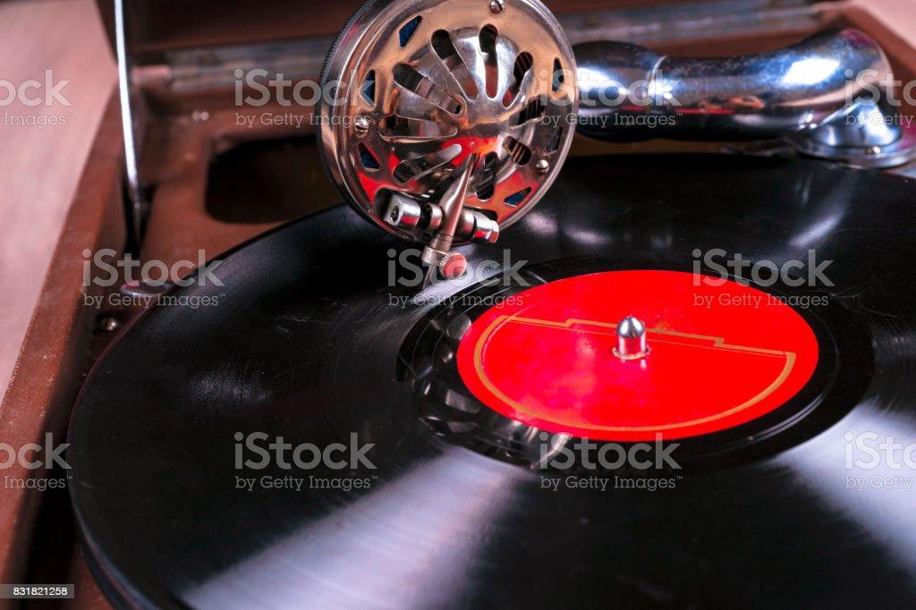 Old gramophone player, closeup stock photo