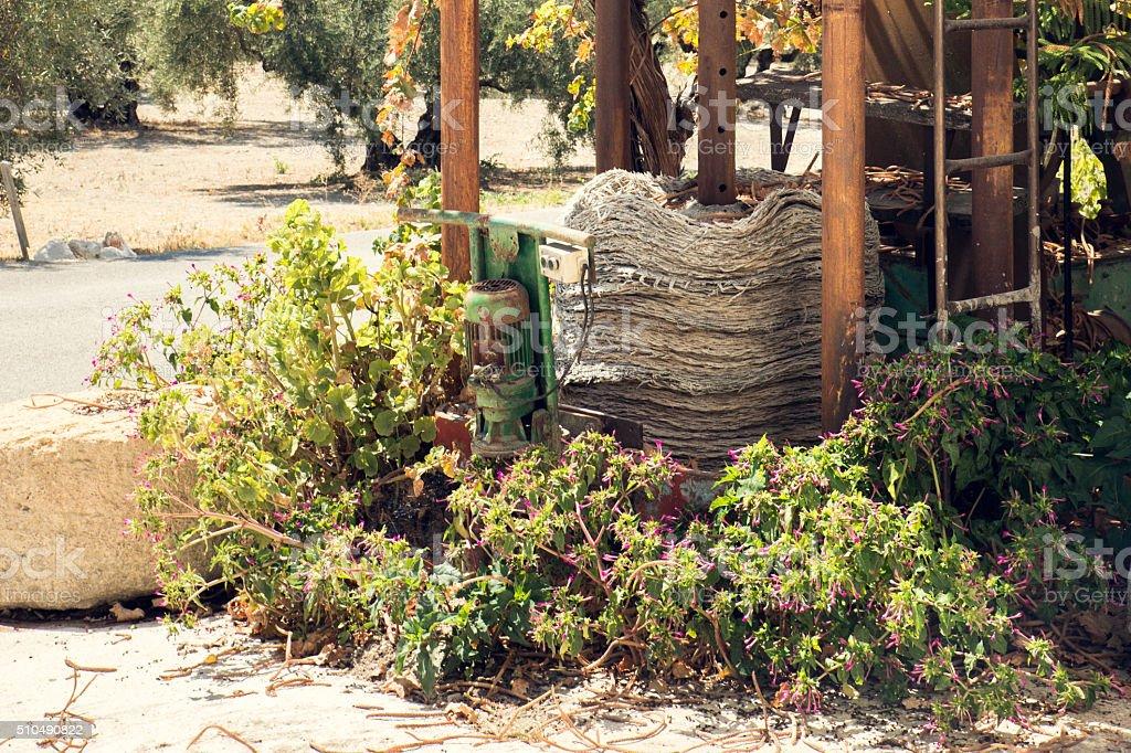 Old grape press. stock photo