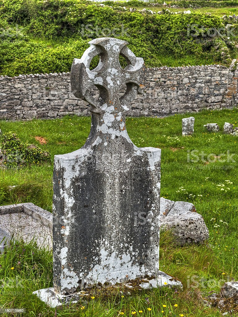 Old grave stone of the Aran Island royalty-free stock photo