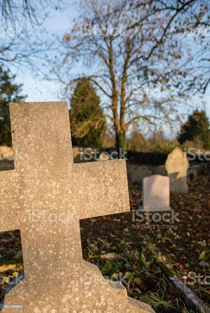 Old gravestones at an english cemetery stock photo