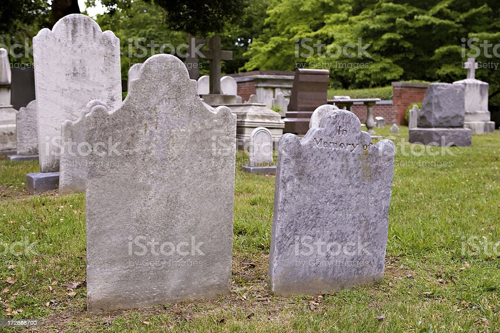 Old gravestones stock photo
