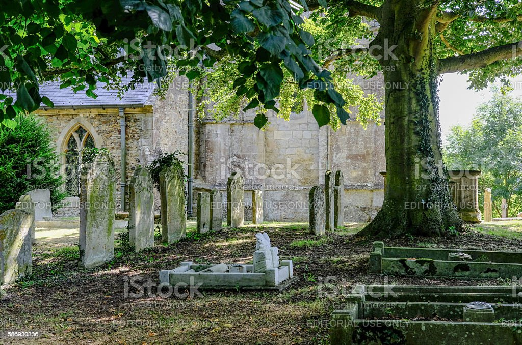 Old gravestones under the canopy of a tree stock photo