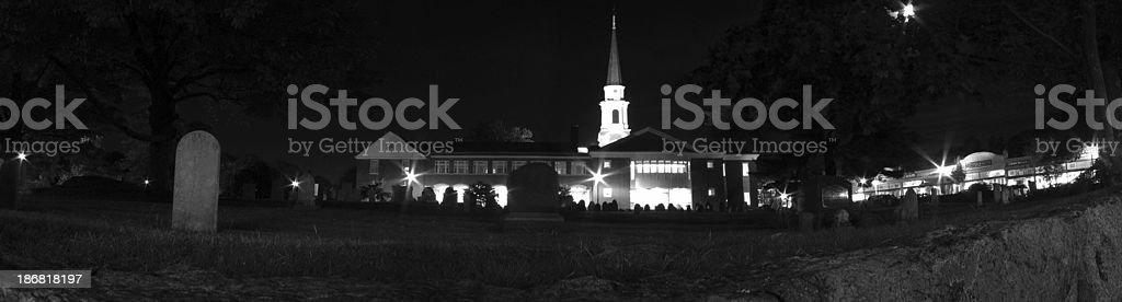 Old Graveyard at Night Panorama royalty-free stock photo
