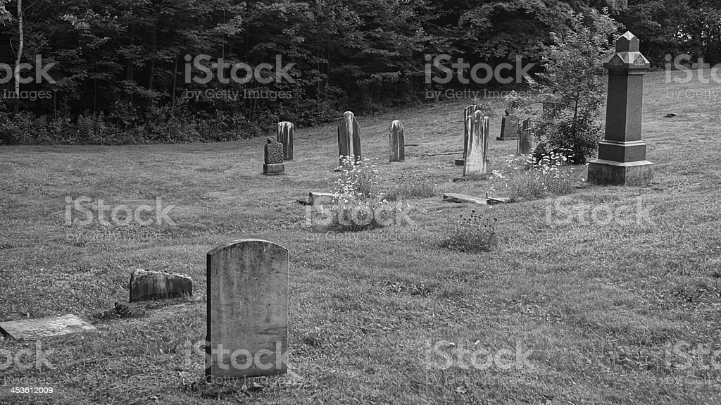 Old graveyard in black and white royalty-free stock photo